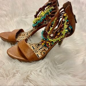 Anne Michelle multicolor beaded ankle strap size 7